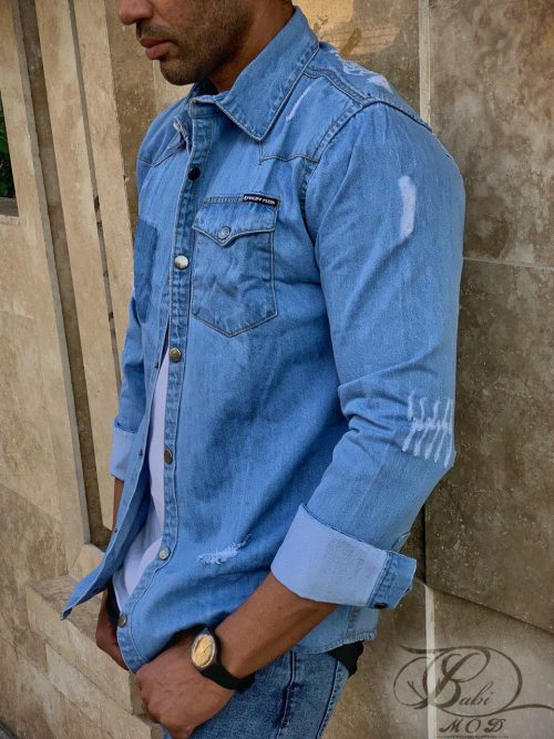 پیراهن جین آبی روشن فلیپ پیلین