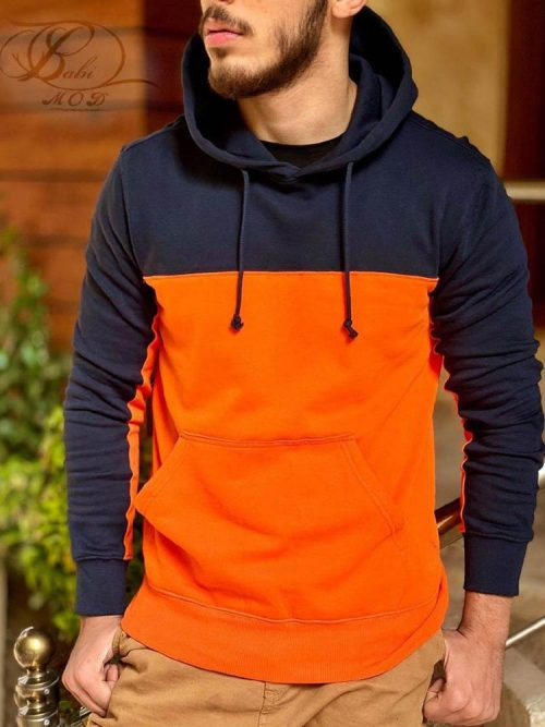 هودی مردانه نارنجی سرمه ای H&M کد 4778