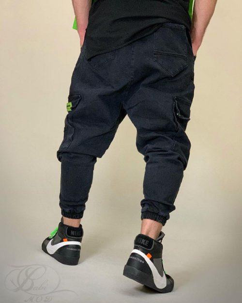 شلوار جین مردانه فاق دار زغالی MJG کد 5583
