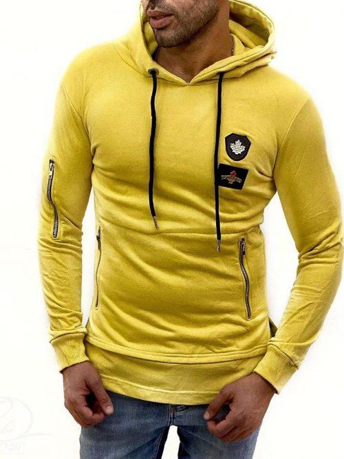 هودی مردانه زرد DSQURED کد 5906