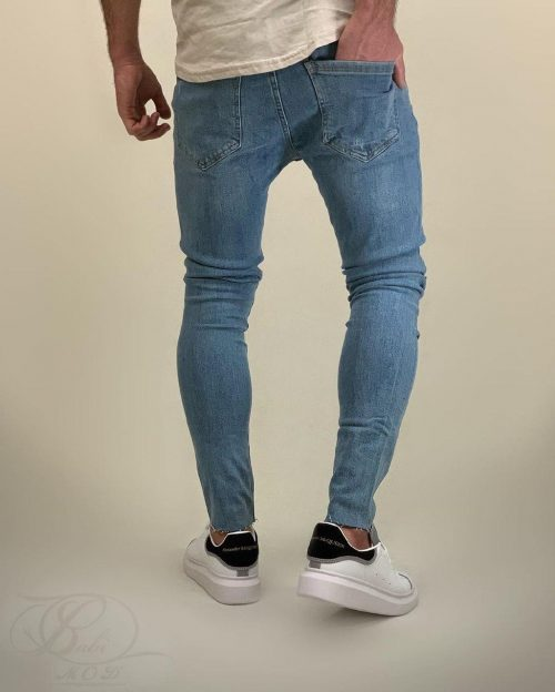 شلوار جین مردانه اسکینی آبی برشکا کد 5861
